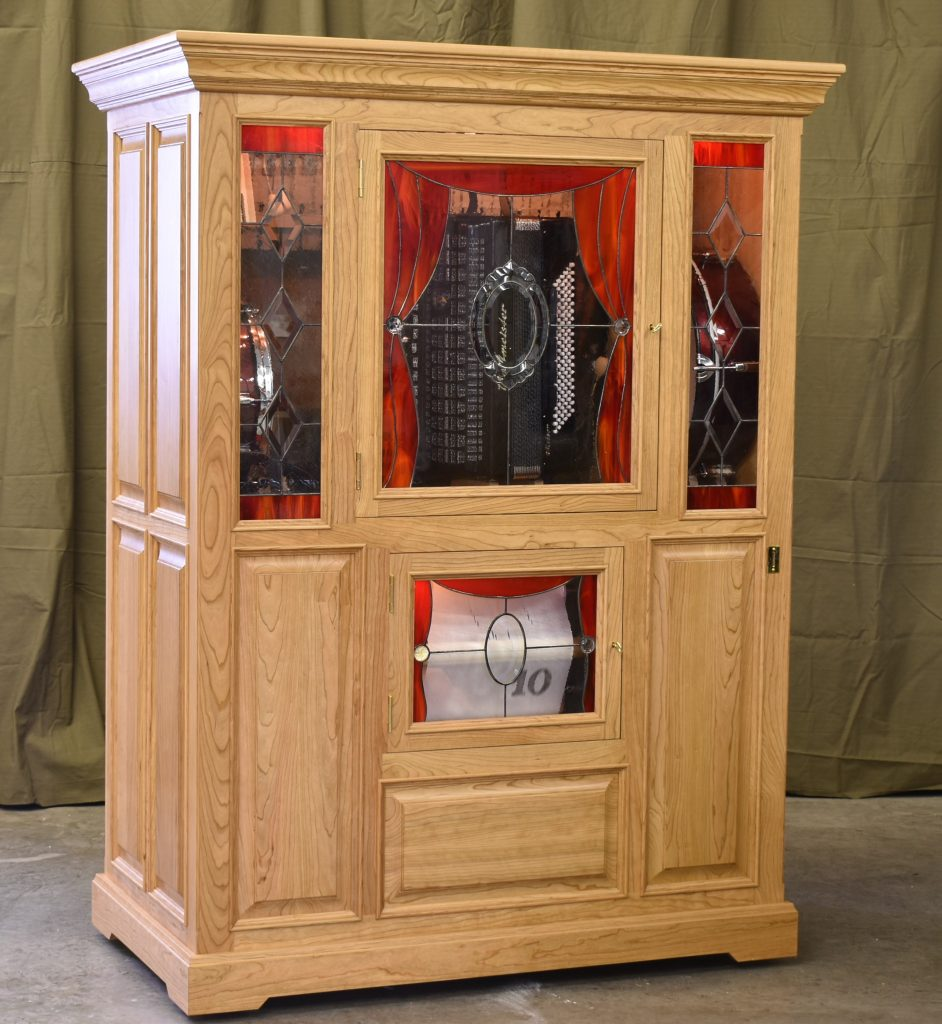 Automatic playing accordion cherry cabinet